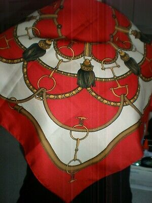 Vintage Scarf Styles -1920s to 1960s VINTAGE Equestrian CHAIN LINKS AND HORSEBIT RED SILK SCARF  24