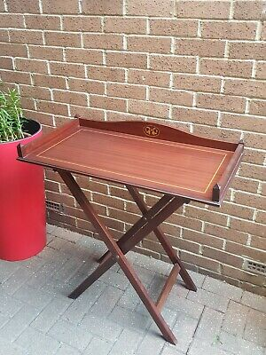 Mahogany Butlers Tray on Folding Ring Turned Stand, Antique Table