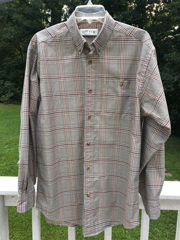 ORVIS Mens Medium Long Sleeve Shirt Button Down Tan Plaid M Cotton Fishing Brand