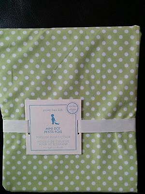 Pottery Barn Kids Baby Toddler DUVET Green White Mini Dot Dots NWT