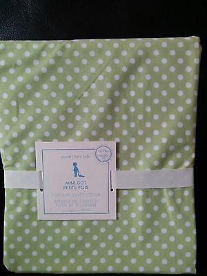 Pottery Barn Kids Baby Toddler DUVET Green White Mini Dot Dots NWT