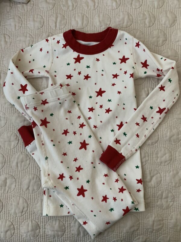 Hanna Andersson Moon And Back Size 8 Star Pajama Set Green Red Holiday Christmas