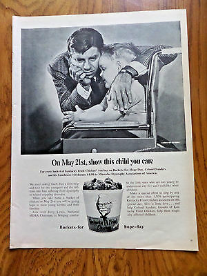 1968 Colonel Sander's Kentucky Fried Chicken Ad Jerry Lewis National MDAA Chair