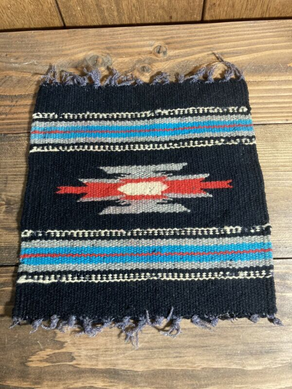 """Vintage CHIMAYO Small WOVEN RUG MAT 10"""" by 9"""""""