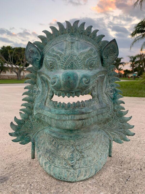 Vintage Khmer Style Bronze Temple Guardian or Lion Head