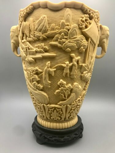 """Vintage Ivory-Colored Resin Vase Chinese Style Made in Italy 12"""""""
