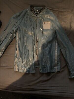 Faux Leather Oil Green/blue Mens Jacket Small/Medium