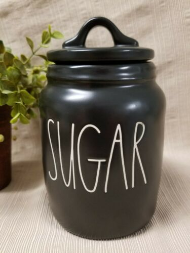 """NEW"" Rae Dunn by Magenta ""SUGAR"" Black Small Canister Farmh"