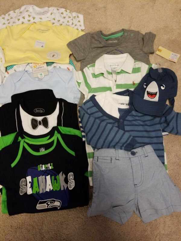 Baby Boys Size 6,6-9, 9, 12, 18, 18-24 Months Clothing Lot Of 21 Pieces.