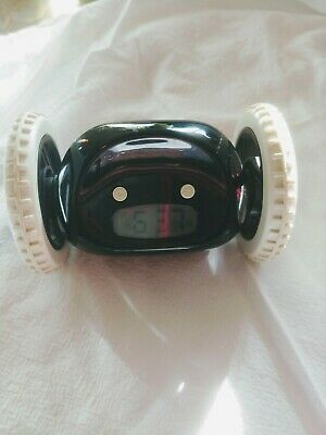 Clocky alarm clock on wheels. Nanda home.  1black. Roving. Can't ignore