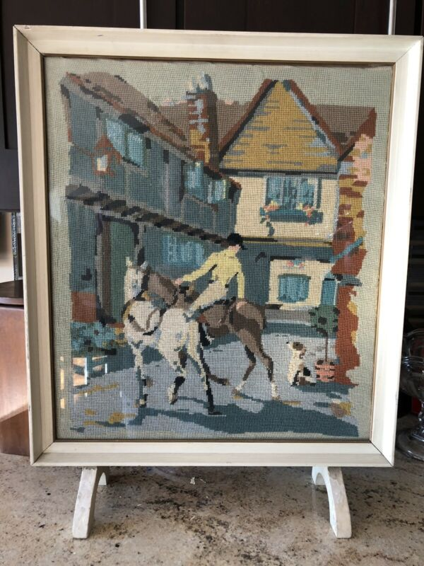 Vintage 1920s-40s Painted Wood Firescreen w Horses & Jockey & Mansion