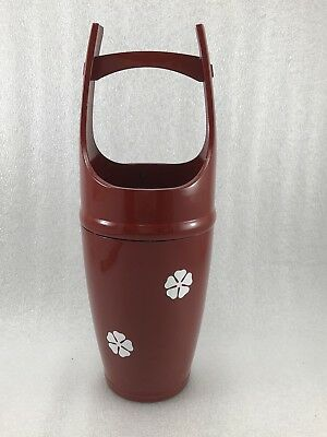 V15 Japanese Red Lacquer Ikebana Bucket Vase