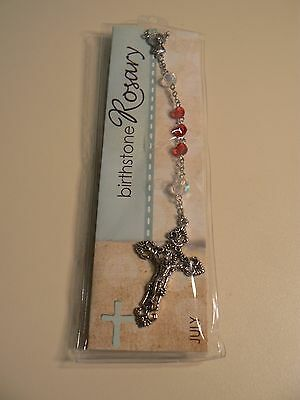 "Grasslands Road BIRTHSTONE ROSARY JULY 21"" Long New in Package Instructions"