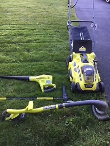 Ryobi lawn mower, easy edge cutter. Leaf blower and weed ripper