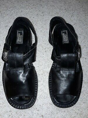 Mens Gianni Versace Black Leather Sandals Size 9, good condition.