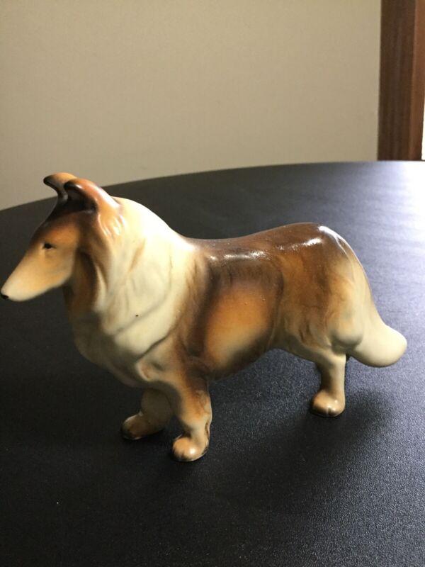 """Vintage Dog Figurine Lassie Collie Ceramic Animal Art JAPAN 4"""""""