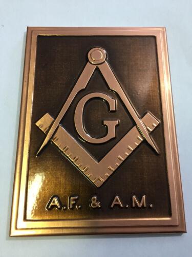 Vintage Free Masons Plaque Hand finished Copper A.F and A.M Art Metals Co.