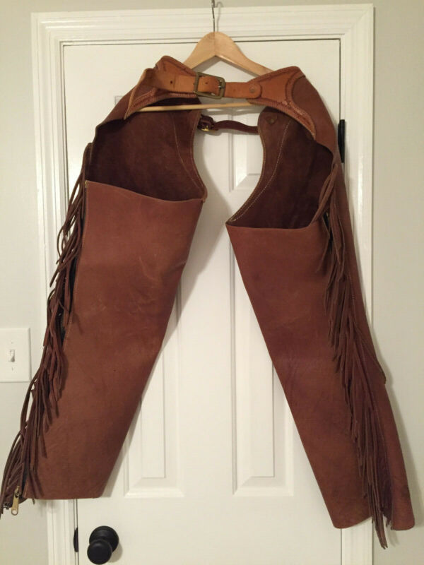 Western Chinks/Chaps - Custom made in Sturgis, SD, brown leather with fringe