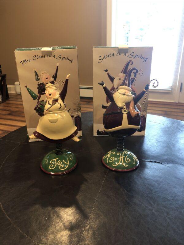 """Costco SANTA & Mrs. ON A SPRING 12"""" Figurine Candy Cane Ho-Ho-Ho & Joy"""