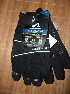 Wells-lamont Cold Weather Hi Dexterity Thinsulate Black Gloves Size Large Nwt