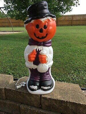 "Halloween 33 1/2"" Pumpkin Head Trick or Treat Scarecrow Lighted Blow Mold"