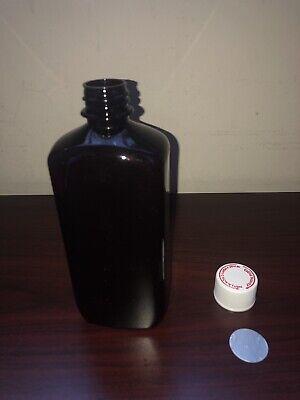 16oz Oblong Amber Pet Plastic Bottles W Cap And Heat Induction Foil Seal