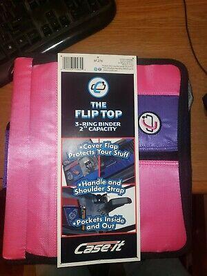 Case-it Flip Top 3-ring Binder Notebook 2capacity Whandle Shoulder Strap Pink