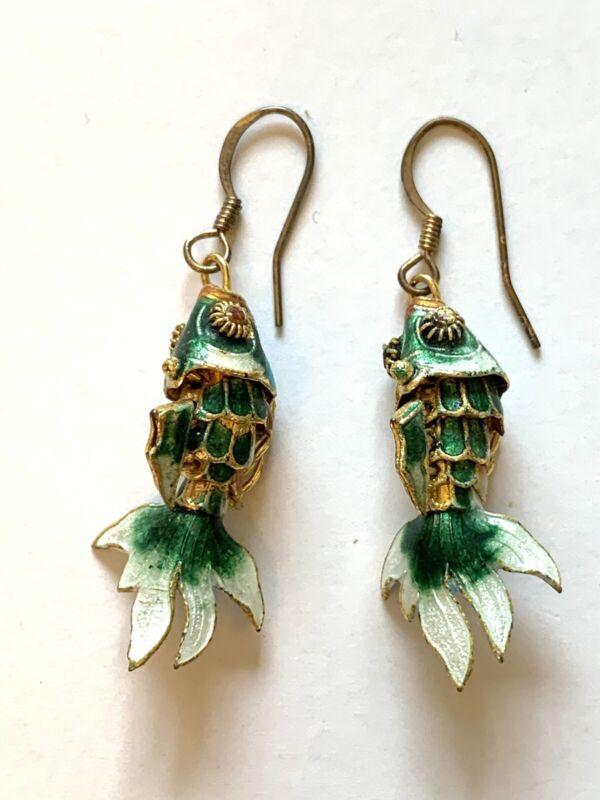 Earrings Cloisonné Enamel articulated fish Vintage E1 70