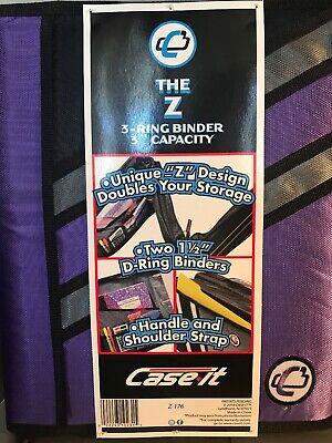 Case-it Z-binder Two-in-one Two 1.5-inch D-ring Zipper Binder In 1 Purple New