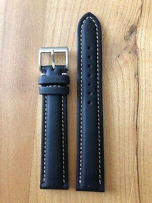 FORTIS Lederarmband schwarz,  Ansatzbreite 20 mm, Neu und Original