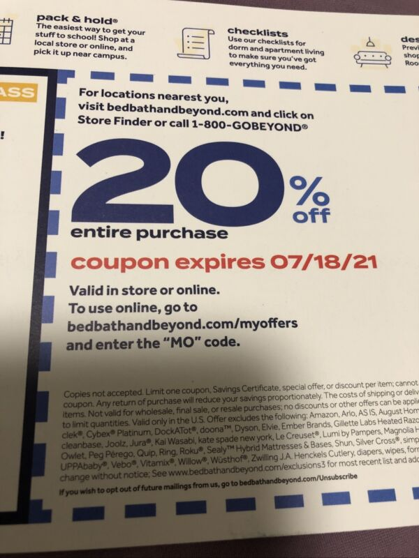 1 Bed Bath And Beyond 20% off entire purchase Online Coupon Only Exp 7/18/2021