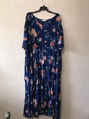 Blue Floral Woman Within Dress Size 4X 32/34 Womens Maxi Loose