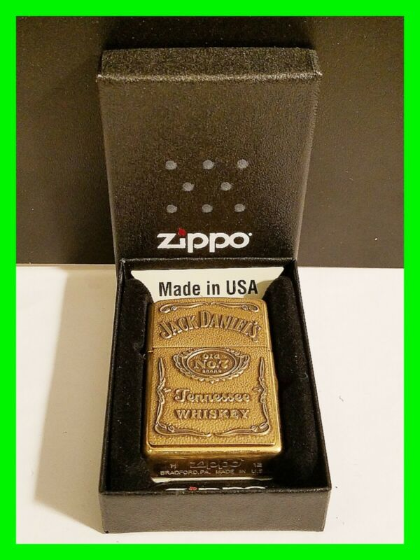 Unique Solid Brass Jack Daniels Zippo & Matching Insert w/ Box ~ Excellent Cond.