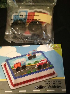 DecoPac ROLLING VEHICLES CAKE TOPPER DECORATING KIT BIRTHDAY CAR AIRPLANE NEW - Airplane Cake Topper