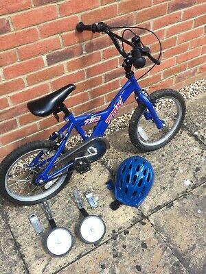 Trax 'T-16' Children Bike Blue Steel Frame 16 Inch Wheels + stabilisers + helmet