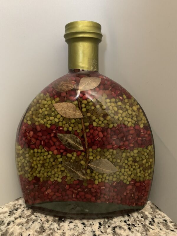 Oil Vinegar Infused Indian Red Beans & Mung Beans Kitchen Decor Glass Bottle