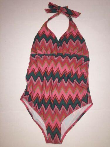BEACH BUMP by Motherhood Maternity Swimsuit One Piece Halter Size Medium M EUC