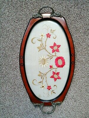 Antique / Vintage Wood Tray with Embroidery under Glass & Brass Handles