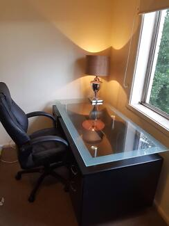 Large Office Desk Heavy Glass Top Great Condition