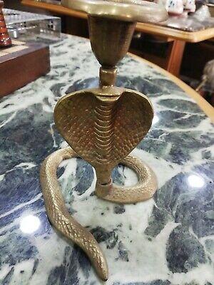 "Vintage Brass King Cobra Snake Candlestick Candle Holder Etched Table 5"" Tall"