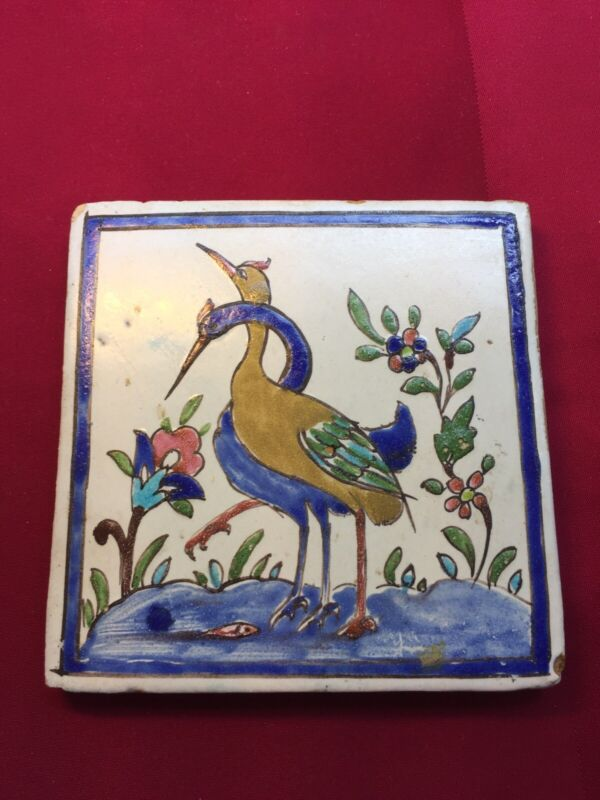 """Vintage Hand Painted Pottery Tile with 2 Storks and Flowers 6"""""""