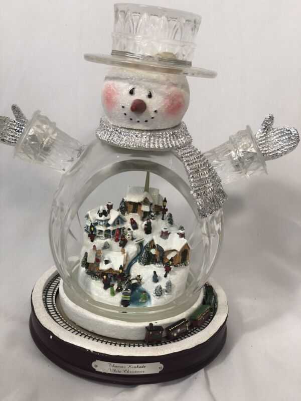 Thomas Kinkade White Christmas Masterpiece Edition Crystal Snowman Train WORKS!