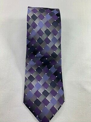 John Ashford Diamond Square Patterned Silk Tie Purple/Black/Grey Diamond Patterned Silk Tie