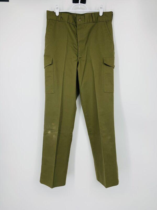 """Vintage Boy Scouts Uniform Pants Size 30""""x29.5"""" Green Chino Pocket"""