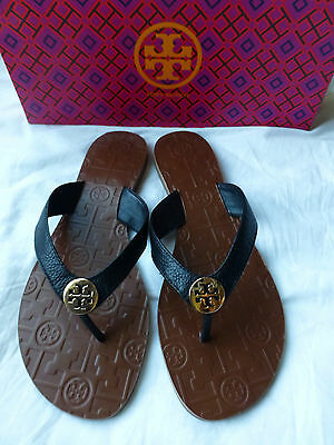 TORY BURCH Thora Black Gold Logo Tumbled Leather Size 8 New