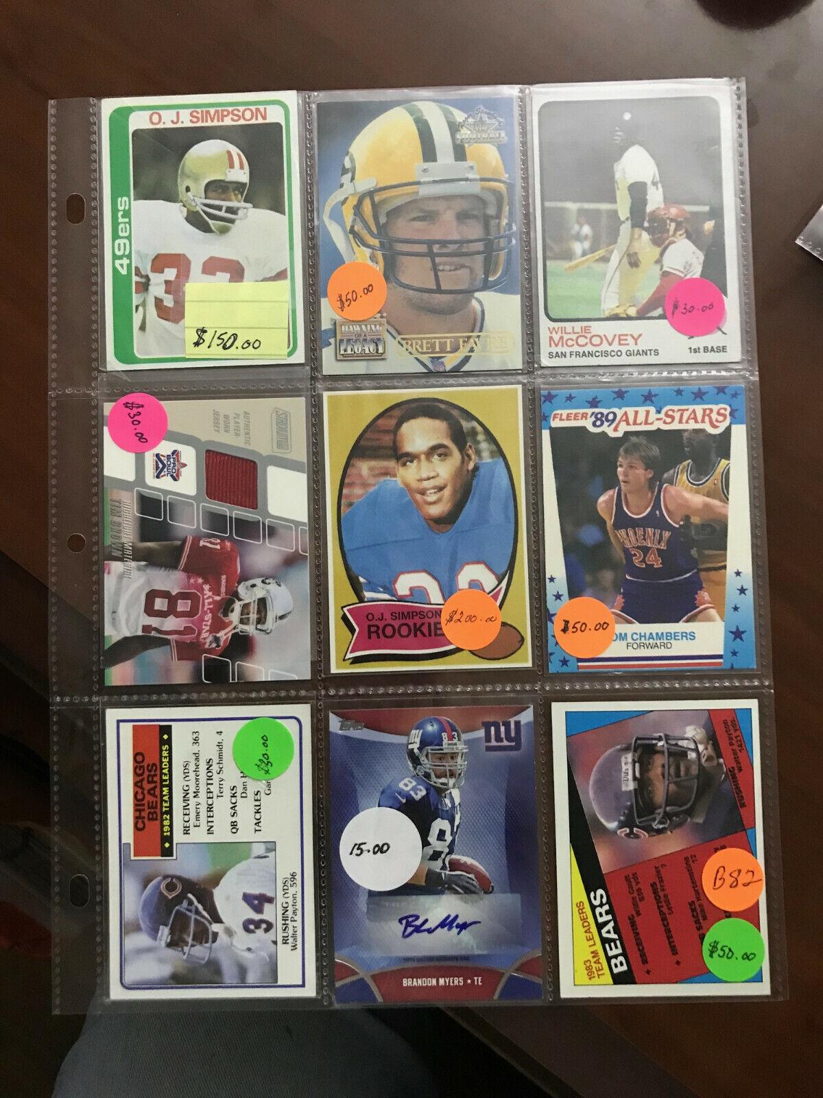 Sports Trading Cards Basketball Football O.J. Simpson Payton Lot 82  - $25.00
