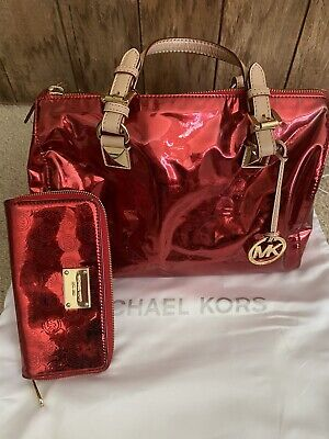 Authentic Michael Kors Red Patent Purse And Wallet RARE