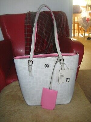 Gorgeous Anne Klein Pocket Tote Light Gray w/ Hot Pink Trim Hand Bag