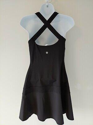 Lululemon Hot Hitter Cross Back Tennis Run Dress Solid Black Size Tag 6 EUC