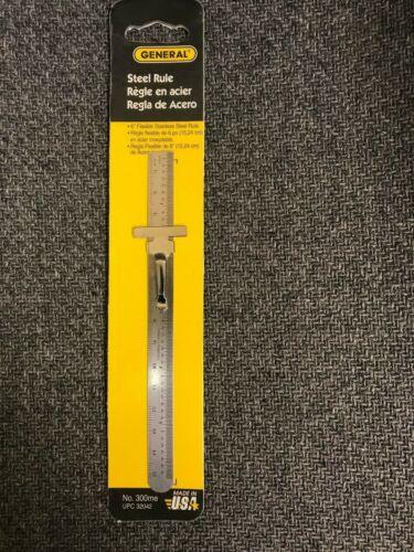 """6"""" STEEL RULE STAINLESS STEEL 1/64 & METRIC - GENERAL TOOLS #300ME- NEW"""